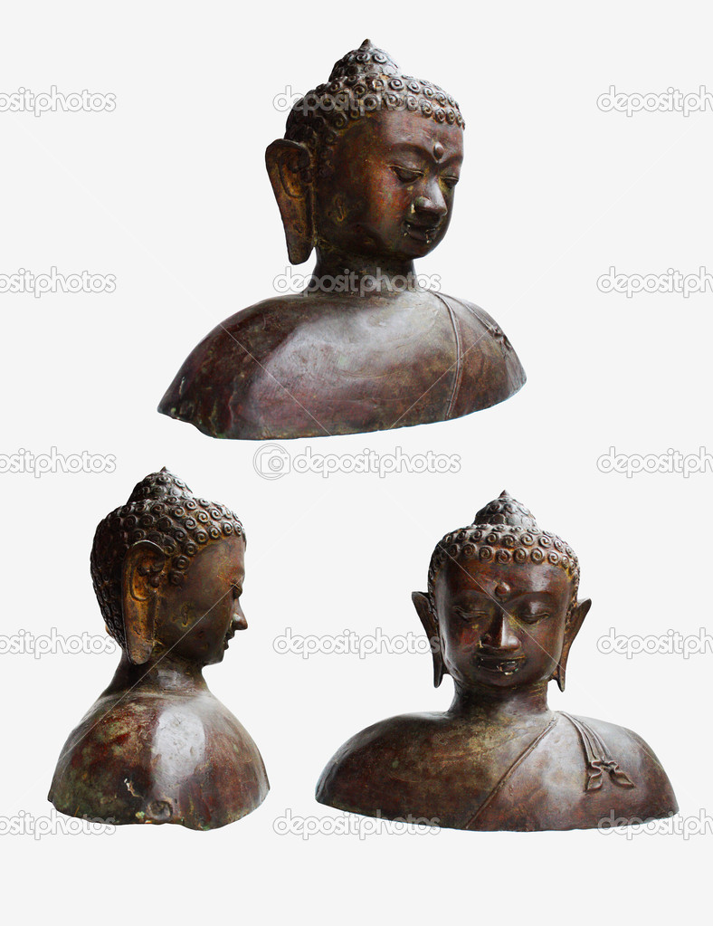 Statue of Buddha  in a row isolated on white background — Stock Photo #6936597