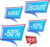 Sale's blue framed labels — Stock Vector