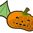 Stock Vector: Flying Pumpkin