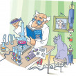The Scientist and his Cat. - Stock Vector
