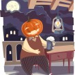 Jack O' Lantern with a pint of beer. - Stock Vector