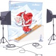 Vector de stock : Skiing SantClaus.