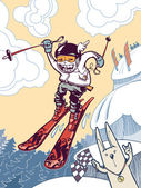 Die tapferen ski freerider. — Stockvektor