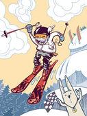 El freerider esquí valiente. — Vector de stock