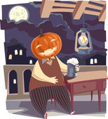 Jack O' Lantern with a pint of beer. — Stock Vector
