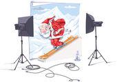 Skiing Santa Claus. — Stock Vector