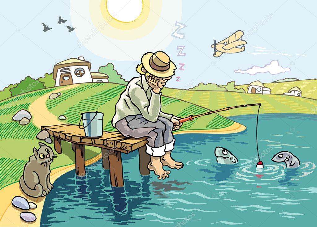 нарисовать рыбак