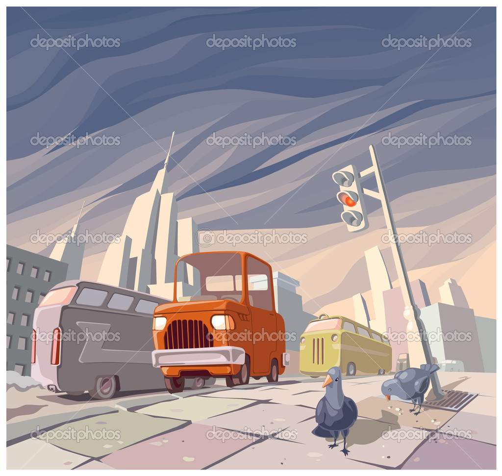 The orange cartoon vintage car in the middle of the main street in a big city. There are two pigeons on a pavement. — Stock Vector #6824847