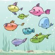 Set of the cartoon fishes. - Stock Vector