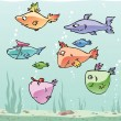 Royalty-Free Stock Imagem Vetorial: Set of the cartoon fishes.