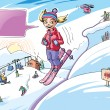 Skiing girl — Stock Vector