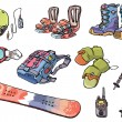 Stock Vector: Backcountry freeride stuff for the snowboarders