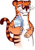 Manhoso tigre bebendo leite. — Vetorial Stock