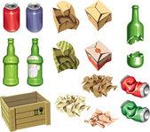 パッケージとゴミ箱. — ストックベクタ