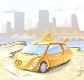 Retro-styled small city car. — Stock Vector