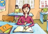 La niña está estudiando en el aula. — Vector de stock