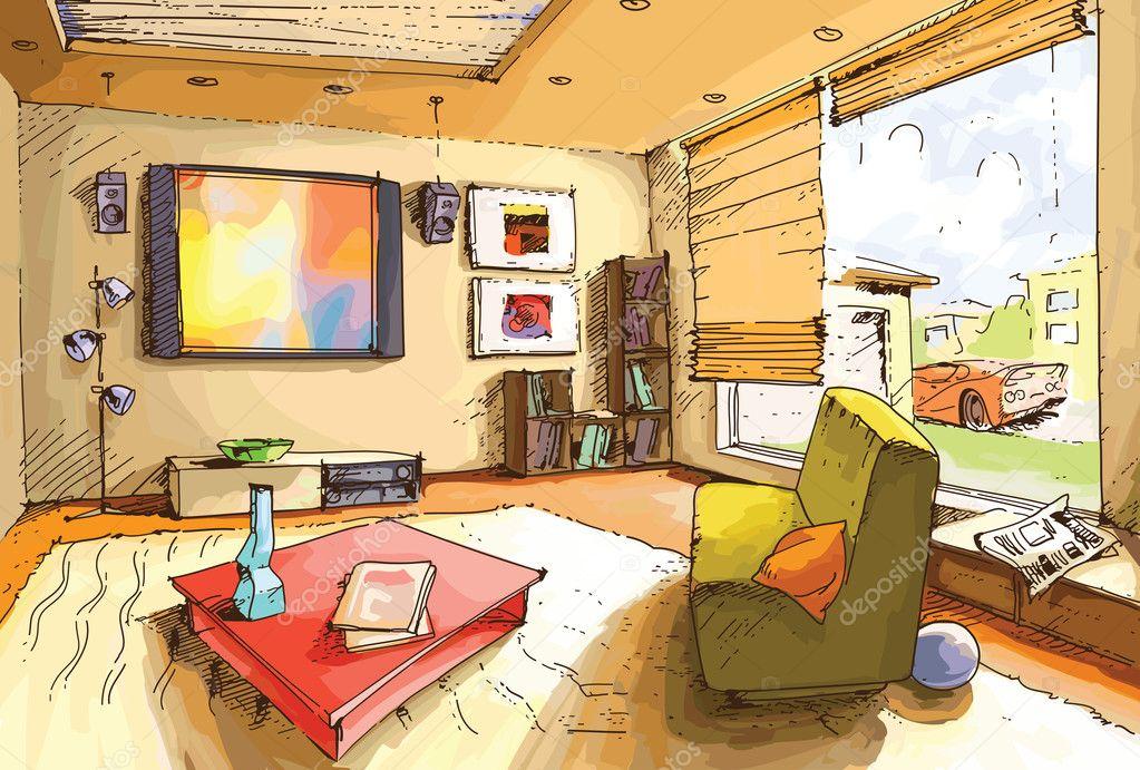 Light Living Room Stock Vector 169 Leks 6830637