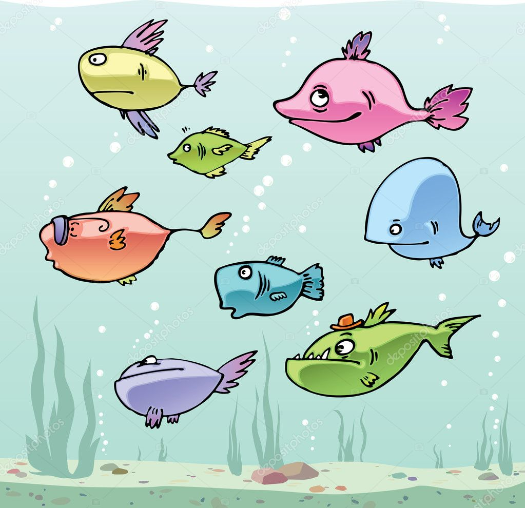 Set of the funny cartoon fishes in their habitat. — Stock Vector #6831159