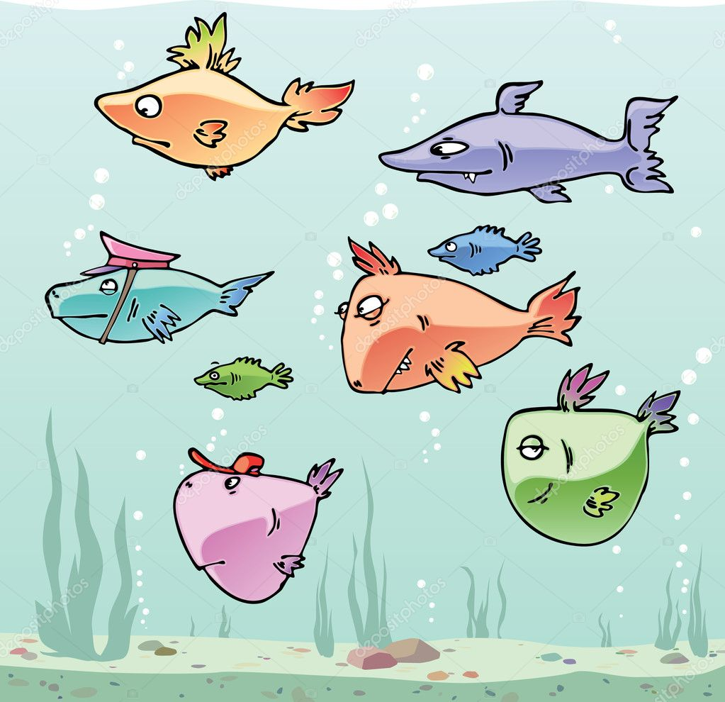 Set of the funny cartoon fishes in their habitat. — Stock Vector #6831167