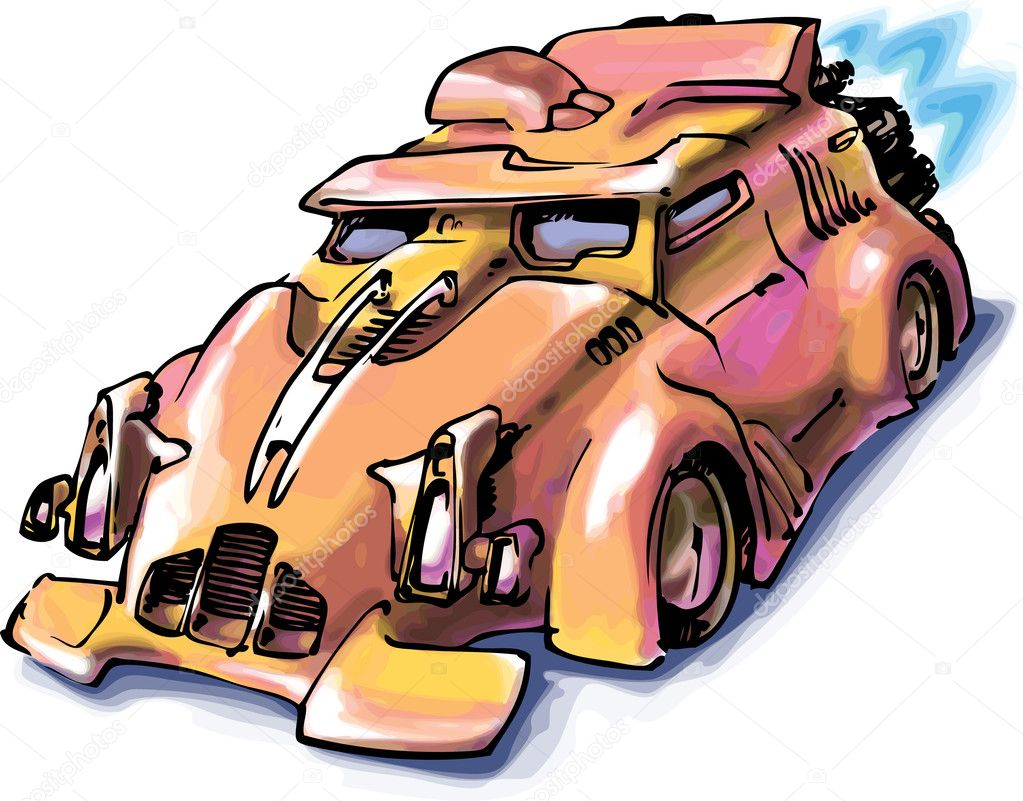 The concept of a jet car. The hand drawn artwork.   Stock Vector #6831263