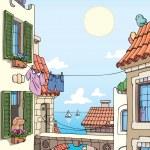 Old city near the sea. — Stock Vector