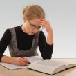 Young girl is preparing for the exam — Stock Photo