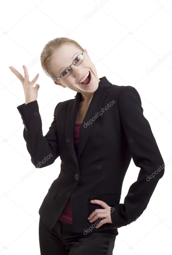 Portrait of happy young business woman on white background  Stock Photo #7461242