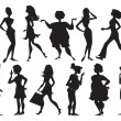 Stock Vector: Silhouettes of women
