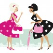 Stock Vector: Retro ladies