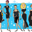 Stock Vector: Black dress party