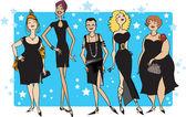 Schwarzes Kleid Partei — Stockvektor