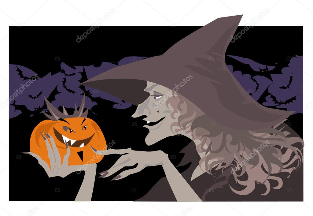 Vector illustration of Wich talking to Pumpkin — Stock Vector #6819847
