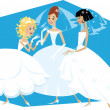 Three brides — Stock Vector