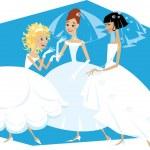 Three brides — Stock Vector