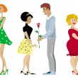Valentine couples — Vector de stock #6827575