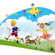 Stock Vector: Children run