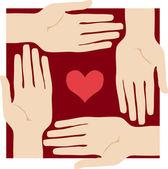 Corazón y las manos — Vector de stock