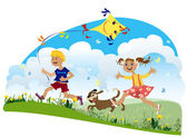 Children run — Stock Vector