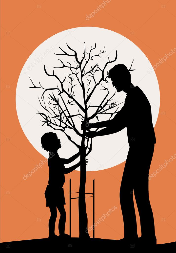 Father and little son planring tree — Stock Vector #6820120