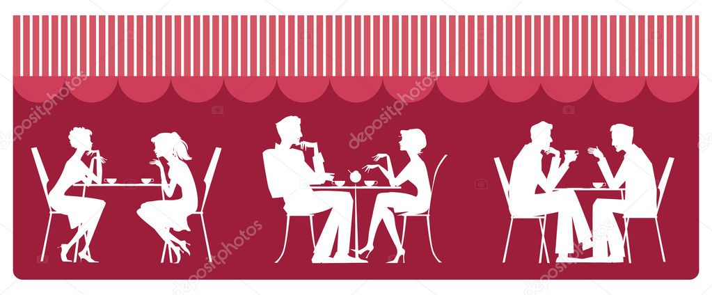 Silhouettes of sitting near table and talking — Stock Vector #6820124