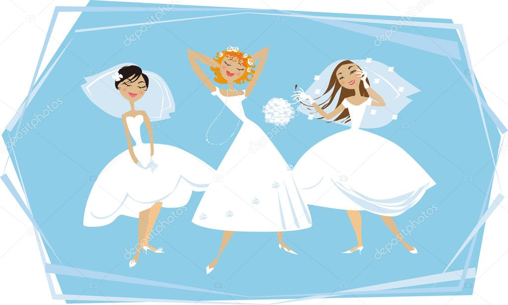 Three young brides enjoying themselves — Stock Vector #6821214