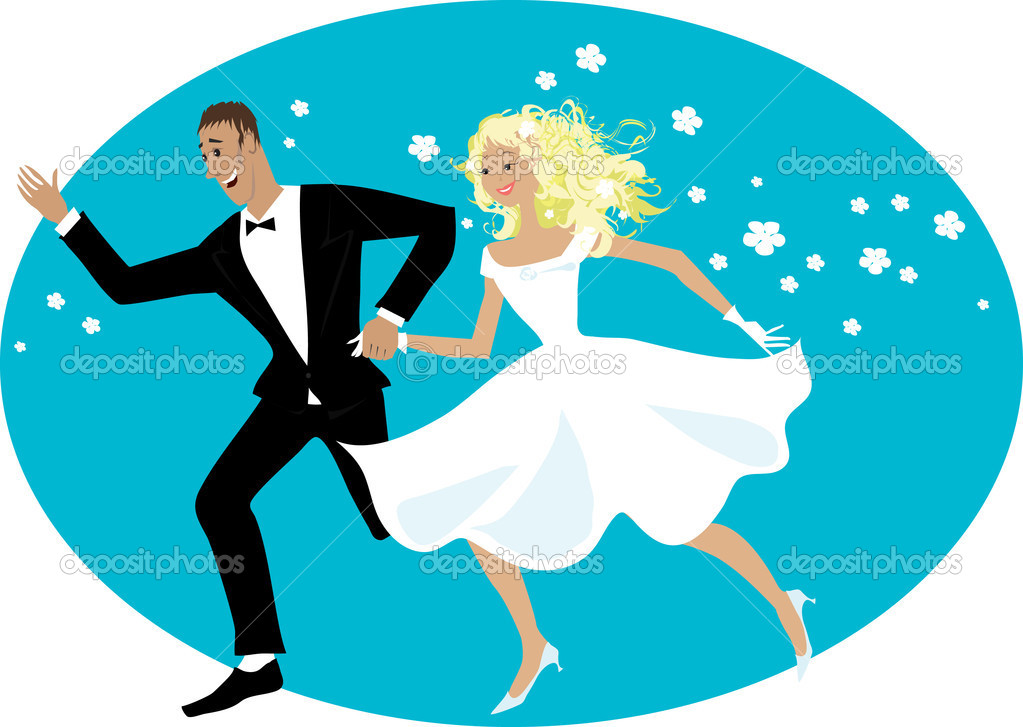 Happy newlyweds running — Stock Vector #6821277