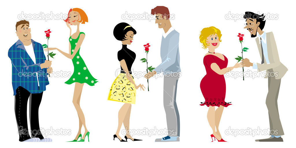 Three romantic couples on Valentine Day — Stock Vector #6827575