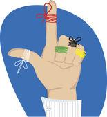 Cordas de lembrete em dedos — Vetor de Stock