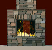 Fireplace — Stock Vector