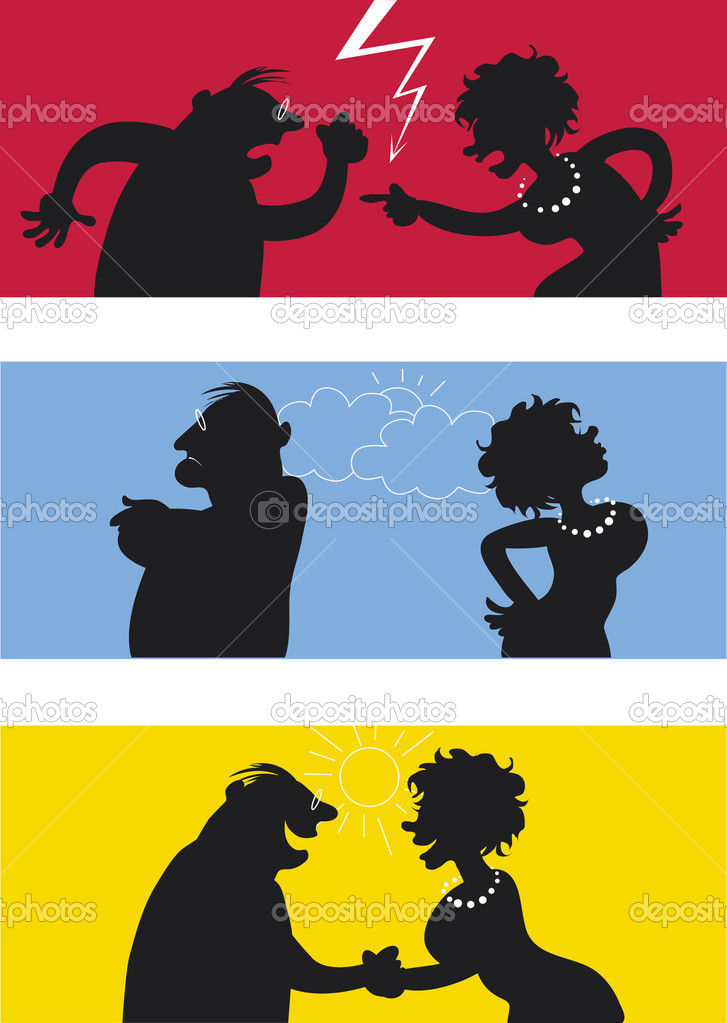Cartoon of fighting couple, weather icons symbolise temper — Stock Vector #6830031