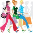 Stock Vector: Shopping girls