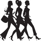 Silhouette of three shopping girls — Stock Vector