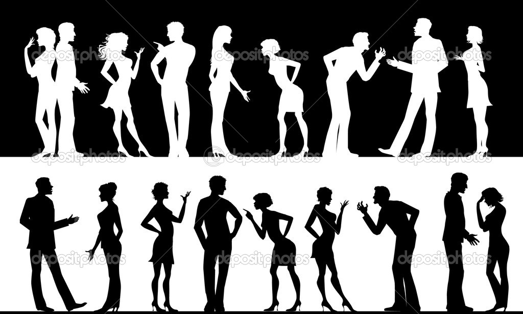Silhouettes of conflicting men and women — Stok Vektör #6843957