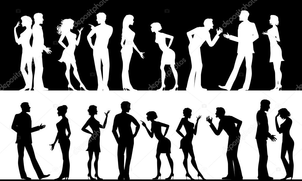 Silhouettes of conflicting men and women — Stockvectorbeeld #6843957